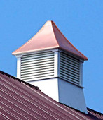 Somerset Louvered Cupola - White PVC with Copper Top