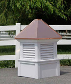 Hancock Louvered Cupola - White with Copper Roof