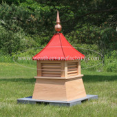 Caribou Louvered Shed Cupola in Red Cedar with Red Roof and Copper Finial