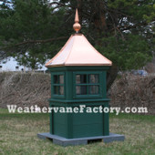 Danville Window Color Cupola shown in Evolve Lumber Green with Copper Roof and Copper Finial