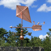 Copper Kite Weathervane side view on blue sky background