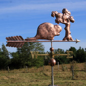 Handmade to order our large beaver weathervane is sure to please. Made to take the heavy winds of Maine and other far off places such as Kansas this beaver weathervane will take the elements. Made to order by The Weathervane Factory.