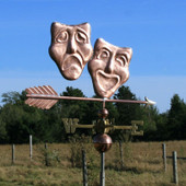 "Happy Sad /Theatre Mask on a 30"" arrow weathervane"