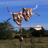 Theatre Mask Weathervane with Ribbons