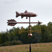 small copper trout weathervane on an arrow side view
