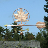 Large Copper Maple Leaf Weathervane side view