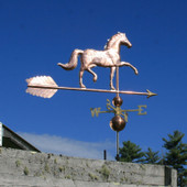 "English Horse Weathervane right rear view on blue sky background on 53"" Arrow"