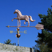 "English Horse Weathervane left rear view on blue sky background on 53"" Arrow"