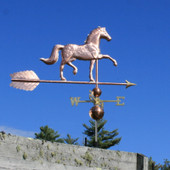 "English Horse Weathervane right side view on blue sky background on 53"" Arrow"