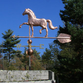 "English Horse Weathervane left angle view on blue sky background on 53"" Arrow"