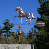 "English Horse Weathervane slight  left side view on blue sky background on 53"" Arrow"