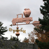 Pickup Truck with Apple Weathervane left rear view on stormy background