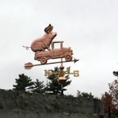 Pickup Truck with Pig Weathervane right front side view on stormy sky background.