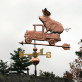 Pig in Pickup Weathervane left angle view on stormy sky background.