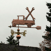 Pickup Truck with Wrenches Weathervane left side view on stormy sky background.