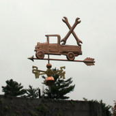 Pickup Truck with Wrenches Weathervane left  angle view on stormy sky background.
