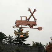 Pickup Truck with Wrenches Weathervane slight left side view on stormy sky background.