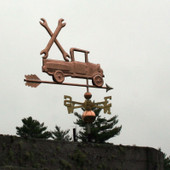 Pickup Truck with Wrenches Weathervane right rear view on stormy sky background.