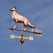Copper German Shepherd Weathervane left front view on dark blue sky background.