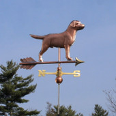 Labrador Weathervane right front view on blue sky background.