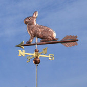 Rabbit Weathervane left side view on blue sky background