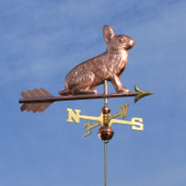 Rabbit Weathervane slight right side view on blue sky background