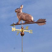 Rabbit Weathervane slight left angle view on blue sky background
