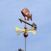 Sunfish Weathervane front view on light blue sky background.