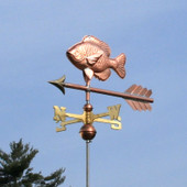Sunfish Weathervane left front view on light blue sky background.