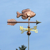 Sunfish Weathervane slight right side view on light blue sky background.