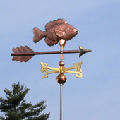 Sunfish Weathervane right angle view on light blue sky background.