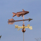 Catfish Weathervane right front view on blue sky background.