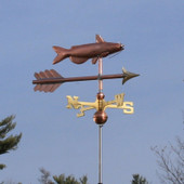 Catfish Weathervane right front angle view on blue sky background.