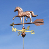 Horse Weathervane slight left rear view on blue sky background.