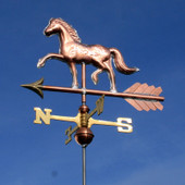 Horse Weathervane left front side on blue sky background.