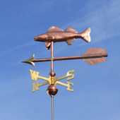Walleye Weathervane slight left side view on blue sky background.