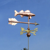 Walleye Weathervane slight right side view on blue sky background.