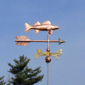 Walleye Weathervane right side view on blue sky background.