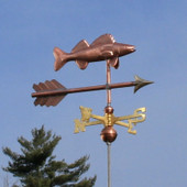 Walleye Weathervane right front view on blue sky background.