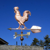 Large Walking Rooster Weathervane left view on dark blue sky background.