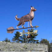 Large German Shepherd Weathervane right front angle view on blue sky background.