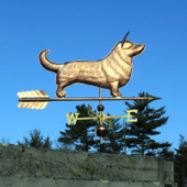 Cardigan Corgi Weathervane right side view on a Blue Sky Background.