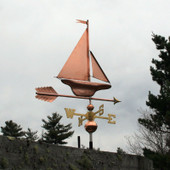 S Class Yacht/Sailboat Weathervane slight left rear angle view on stormy background.