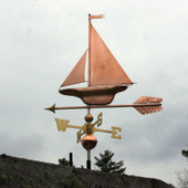 S Class Yacht/Sailboat Weathervane slight left angle view on stormy background.
