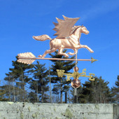 Pegasus Weathervane Right Rear View on Blue Sky Background