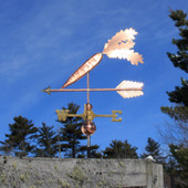 Carrot Weathervane on an arrow left side view on blue sky background.