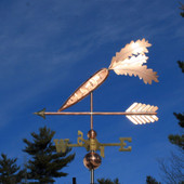 Carrot Weathervane on an arrow left side view on dark blue sky background.