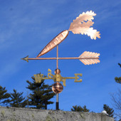 Carrot Weathervane on an arrow left rear view on blue sky background.