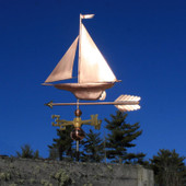 Yacht/Sailboat Weathervane left angle view on blue sky background.