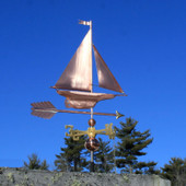 Yacht/Sailboat Weathervane right side view on blue sky background.
